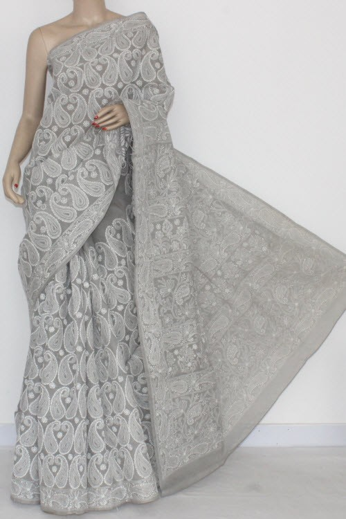 Grey Allover Hand Embroidered Lucknowi Chikankari Saree (With Blouse - Cotton) 14502