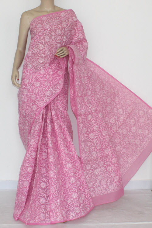 Move Hand Embroidered Allover Tepchi Work Lucknowi Chikankari Saree (With Blouse - Cotton) 14505
