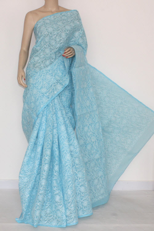Sky Blue Hand Embroidered Allover Tepchi Work Lucknowi Chikankari Saree (With Blouse - Cotton) 14506