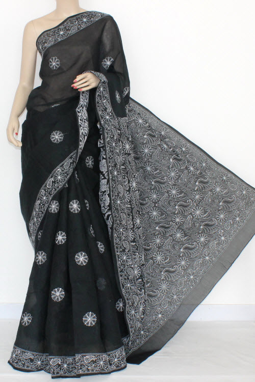 Back Hand Embroidered Lucknowi Chikankari Saree (With Blouse - Cotton) 14509