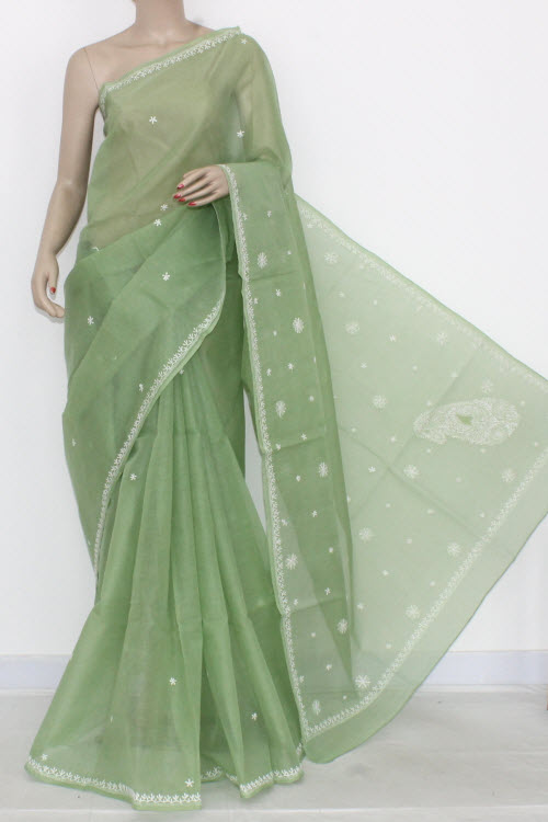 Menhdi Green Hand Embroidered Lucknowi Chikankari Saree (With Blouse - Cotton) 14510