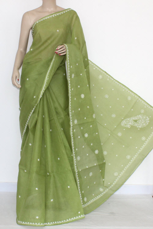 Menhdi Green Hand Embroidered Lucknowi Chikankari Saree (With Blouse - Cotton) 14513