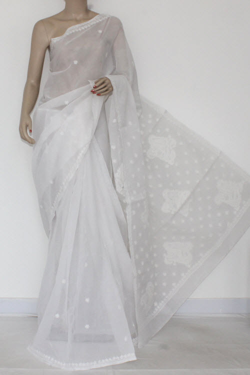 White Hand Embroidered Lucknowi Chikankari Saree (With Blouse - Cotton) 14514