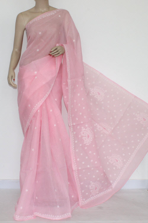 Pink Hand Embroidered Lucknowi Chikankari Saree (With Blouse - Cotton) 14516