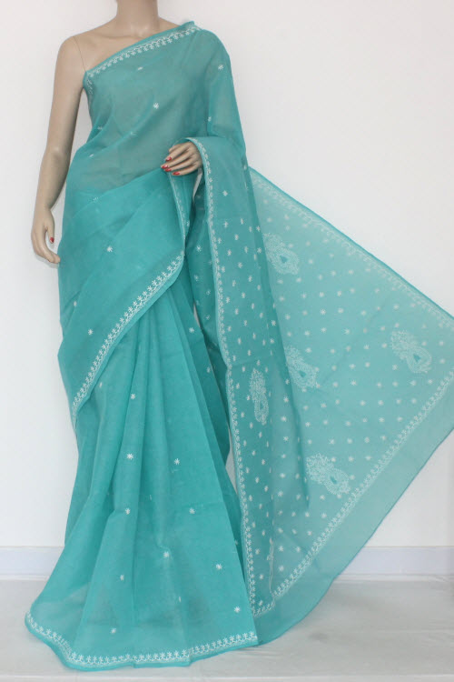 Sea Green Hand Embroidered Lucknowi Chikankari Saree (With Blouse - Cotton) 14517