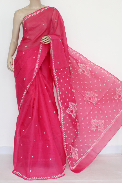 Rani (Deep Pink) Hand Embroidered Lucknowi Chikankari Saree (With Blouse - Cotton) 14518