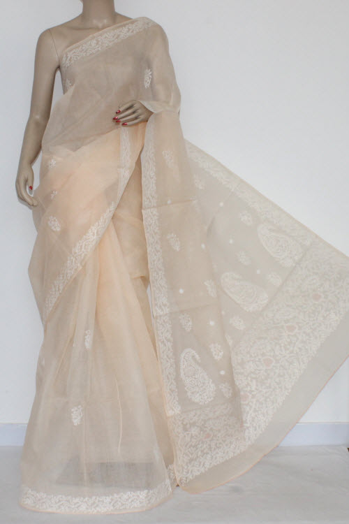 Beige Color Hand Embroidered Lucknowi Chikankari Saree (With Blouse - Cotton) 14526