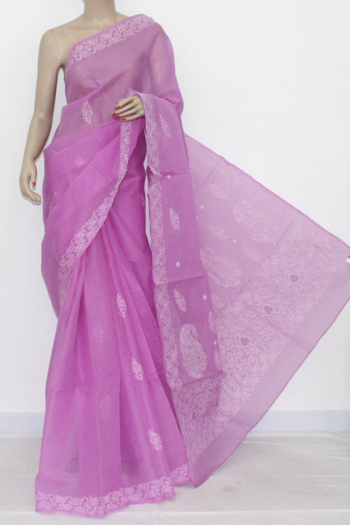 Onion Color Hand Embroidered Lucknowi Chikankari Saree (With Blouse - Cotton) 14527