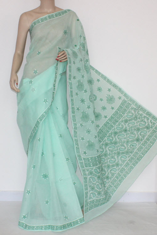 Sea Green Hand Embroidered Lucknowi Chikankari Saree (With Blouse - Cotton) 14528