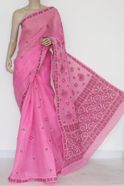 Pink Hand Embroidered Lucknowi Chikankari Saree (With Blouse - Cotton) 14529