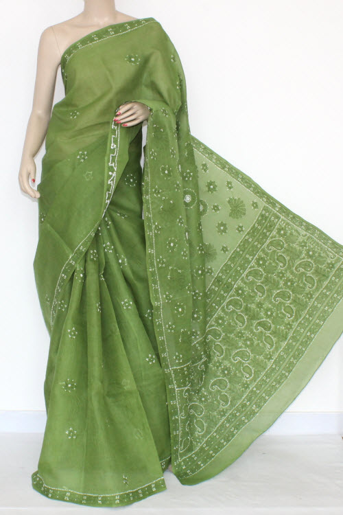 Menhdi Green Hand Embroidered Lucknowi Chikankari Saree (With Blouse - Cotton) 14530