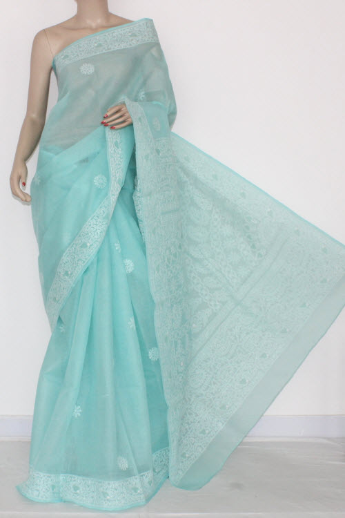 Sea Green Hand Embroidered Lucknowi Chikankari Saree (With Blouse - Cotton) 14532