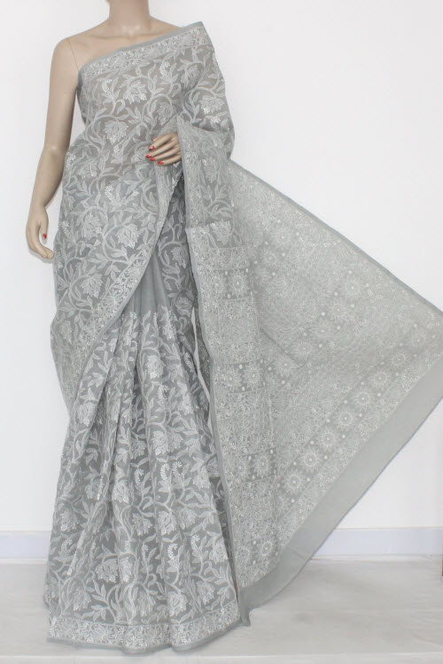 Grey Allover Hand Embroidered Lucknowi Chikankari Saree (With Blouse - Cotton) 14536