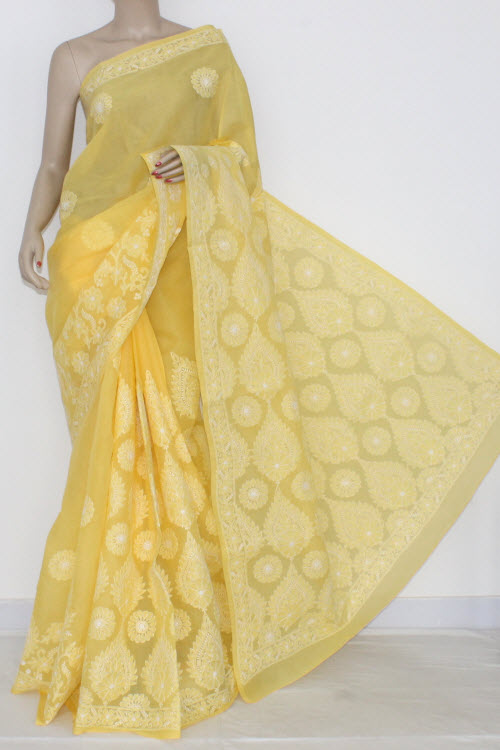 Yellow Hand Embroidered Lucknowi Chikankari Saree (With Blouse - Cotton) 14539