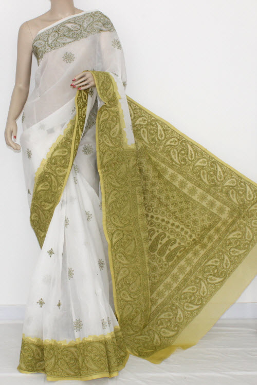 White Menhdi Green Hand Embroidered Lucknowi Chikankari Saree (With Blouse - Cotton) Daraj Work 14540