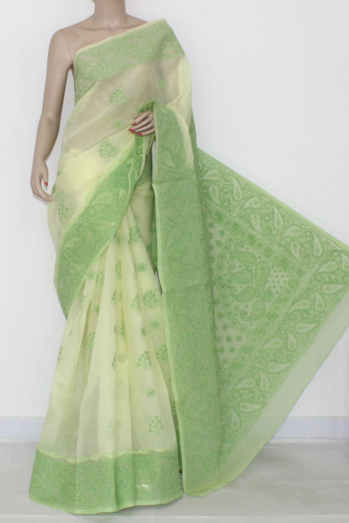Cream Light Green Hand Embroidered Lucknowi Chikankari Saree (With Blouse - Cotton) Daraj Work 14542