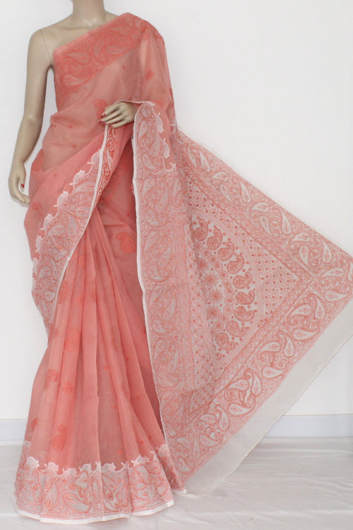 Peach White Hand Embroidered Lucknowi Chikankari Saree (With Blouse - Cotton) Daraj Work 14543