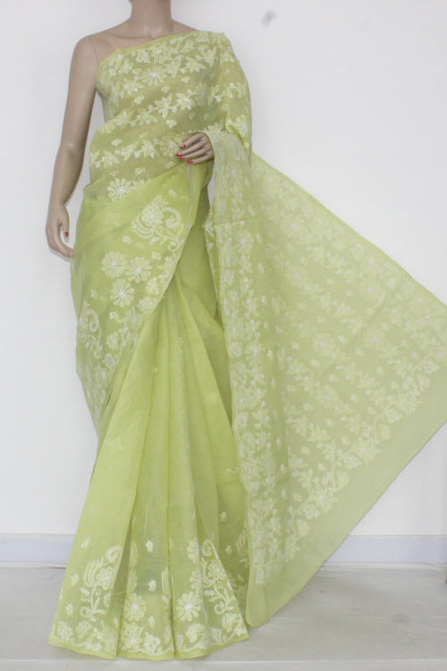 Pista Green Hand Embroidered Lucknowi Chikankari Saree (With Blouse - Cotton) Heavy Pallu 14544