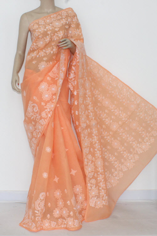Peach Hand Embroidered Lucknowi Chikankari Saree (With Blouse - Cotton) Heavy Pallu 14545