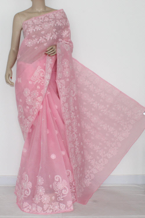 Pink Hand Embroidered Lucknowi Chikankari Saree (With Blouse - Cotton) 14547