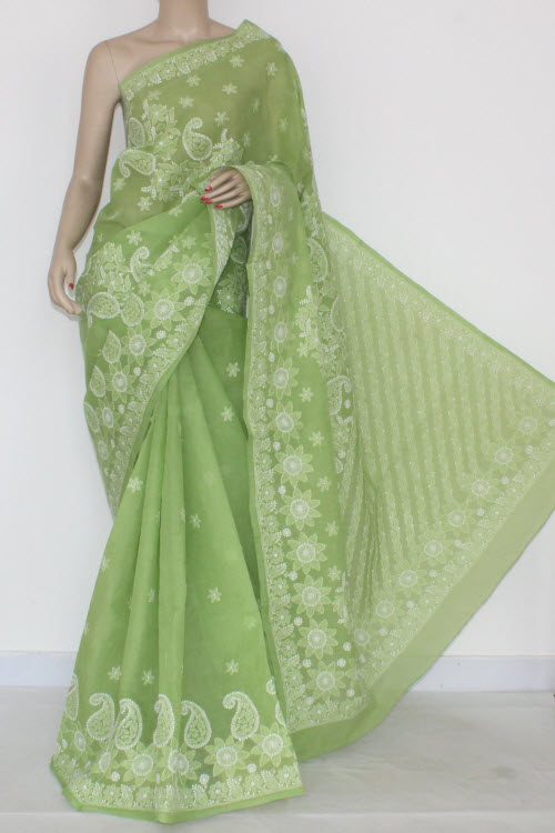 Pista Green Hand Embroidered Lucknowi Chikankari Saree (With Blouse - Cotton) 14548