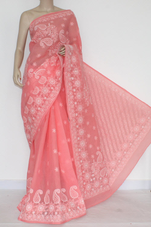 Peach Color Hand Embroidered Lucknowi Chikankari Saree (With Blouse - Cotton) 14549