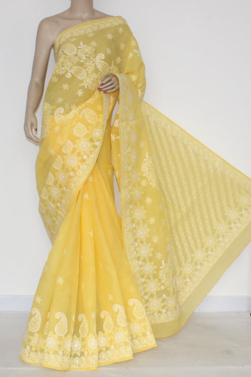 Yellow Hand Embroidered Lucknowi Chikankari Saree (With Blouse - Cotton) 14550