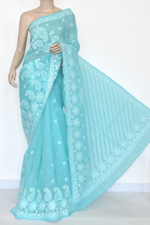 Pherozi Blue Hand Embroidered Lucknowi Chikankari Saree (With Blouse - Cotton) 14551