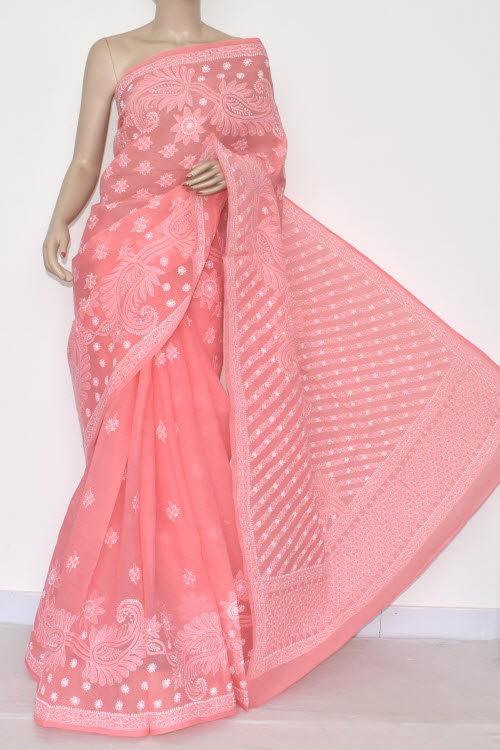 Peach Hand Embroidered Lucknowi Chikankari Saree (With Blouse - Cotton) 14555