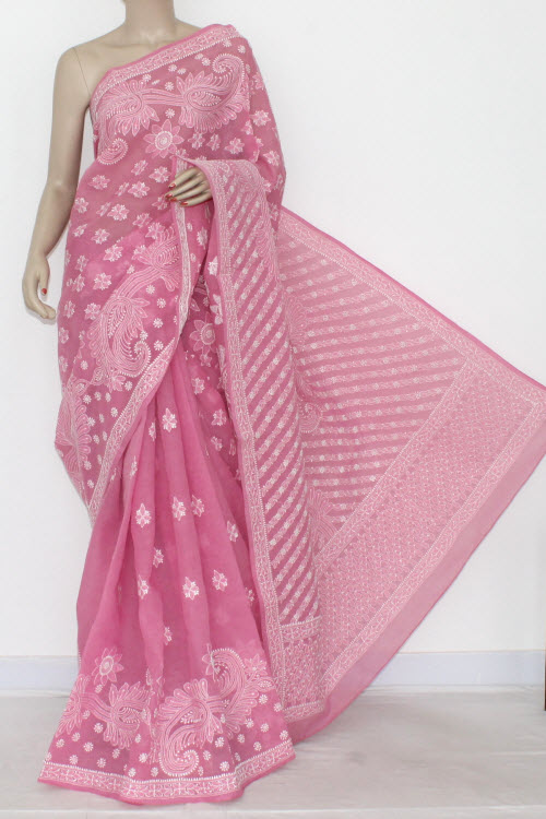 Onion Hand Embroidered Lucknowi Chikankari Saree (With Blouse - Cotton) Heavy Border and Pallu 14557