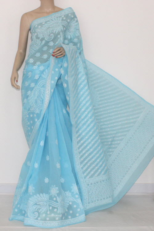 Sky Blue Hand Embroidered Lucknowi Chikankari Saree (With Blouse - Cotton) Heavy Border and Pallu 14559