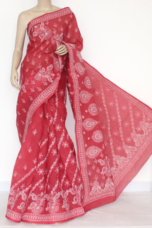 Light Maroon Hand Embroidered Lucknowi Chikankari Saree (With Blouse - Cotton) 14405