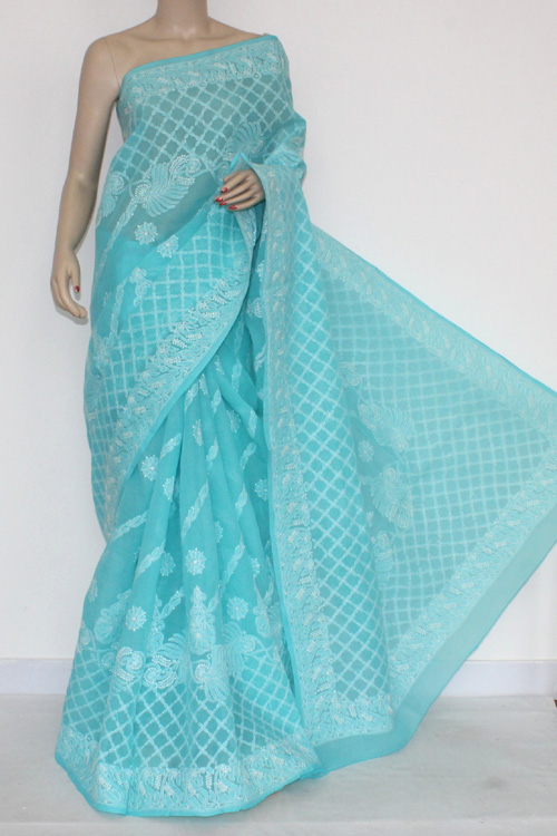 Pherozi Blue Hand Embroidered Lucknowi Chikankari Saree (With Blouse - Cotton) 14563