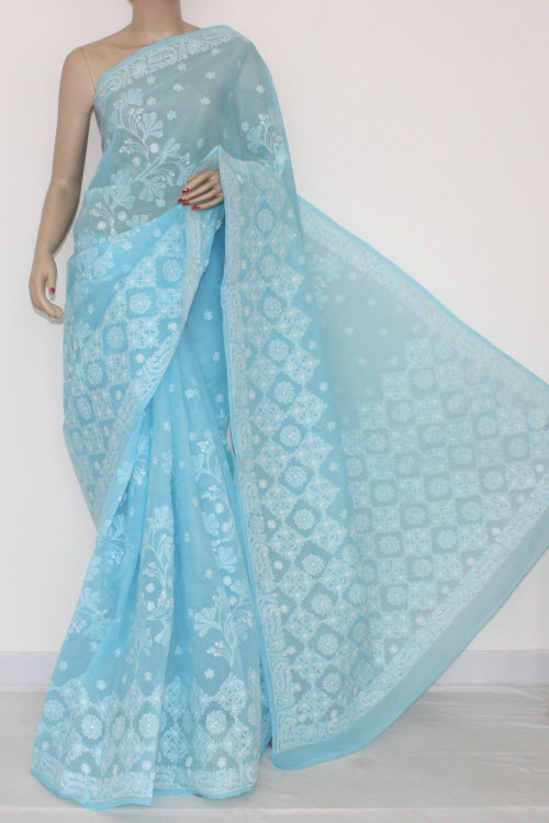 Sky Blue Hand Embroidered Lucknowi Chikankari Saree (With Blouse - Cotton) 14567