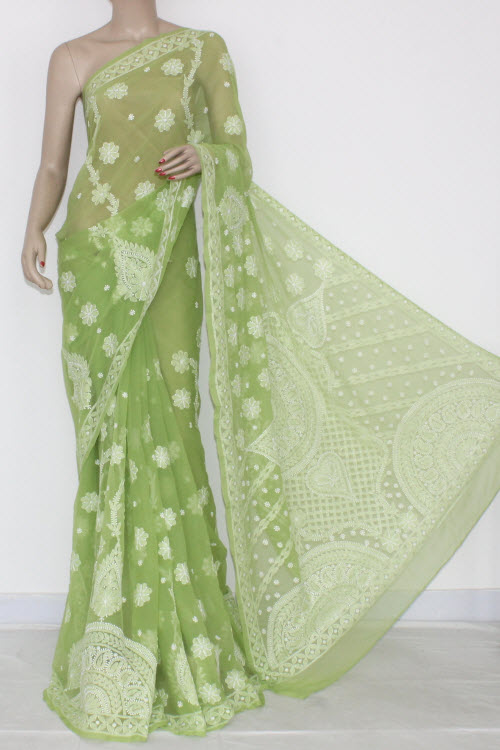 Menhdi Green Hand Embroidered Lucknowi Chikankari Saree (With Blouse - Georgette) 14579