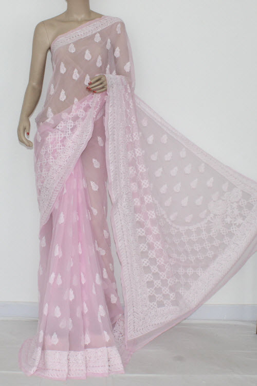 Baby Pink Hand Embroidered Lucknowi Chikankari Saree (With Blouse - Georgette) 14581