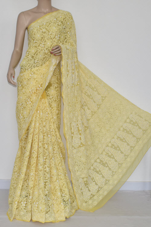 Golden Yellow Allover Hand Embroidered Lucknowi Chikankari Saree (With Blouse - Georgette) MC250054