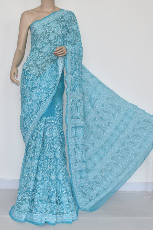 Pherozi Blue Allover Hand Embroidered Lucknowi Chikankari Saree (With Blouse - Georgette) MC250051