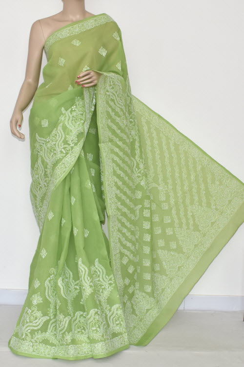 Menhdi Green Hand Embroidered Lucknowi Chikankari Saree (With Blouse - Cotton) 14668