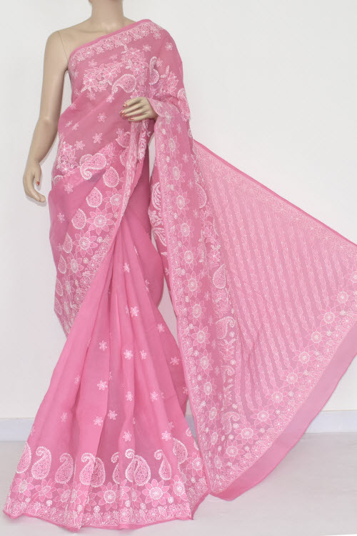 Onion Hand Embroidered Lucknowi Chikankari Saree (With Blouse - Cotton) Half Jaal 14670