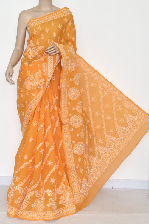 Mustared Yellow Hand Embroidered Lucknowi Chikankari Saree (With Blouse - Cotton) 14672