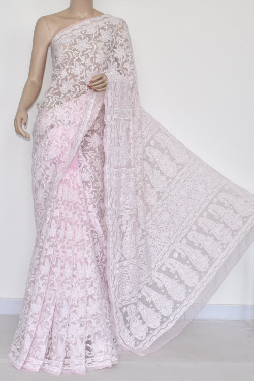 Baby Pink Allover Hand Embroidered Lucknowi Chikankari Saree (With Blouse - Georgette) 14692