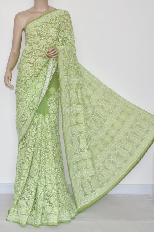 Light Green Allover Hand Embroidered Lucknowi Chikankari Saree (With Blouse - Georgette) MC250053