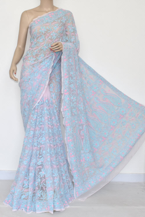Baby Pink Pherozi Allover Hand Embroidered Lucknowi Chikankari Saree (With Blouse - Georgette) 14695
