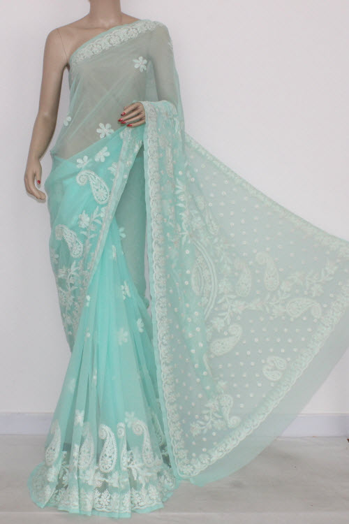 Pista Green Hand Embroidered Lucknowi Chikankari Saree (With Blouse - Georgette) 14697