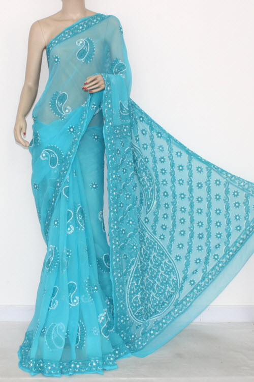 Pherozi Blue Hand Embroidered Lucknowi Chikankari Saree (With Blouse - Georgette) 14698