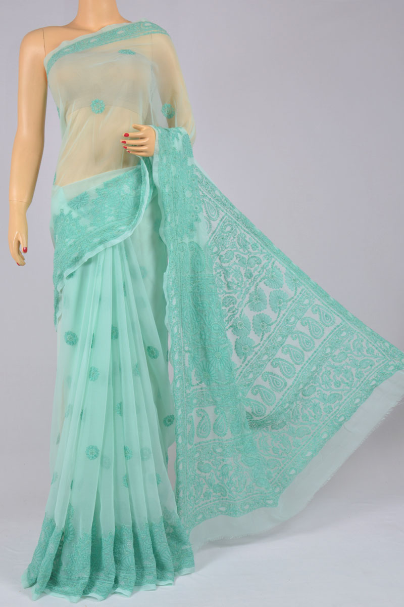 Sea Green Color Hand Embroidered Heavy Palla Lucknowi Chikankari Saree (With Blouse - Georgette) MC250207