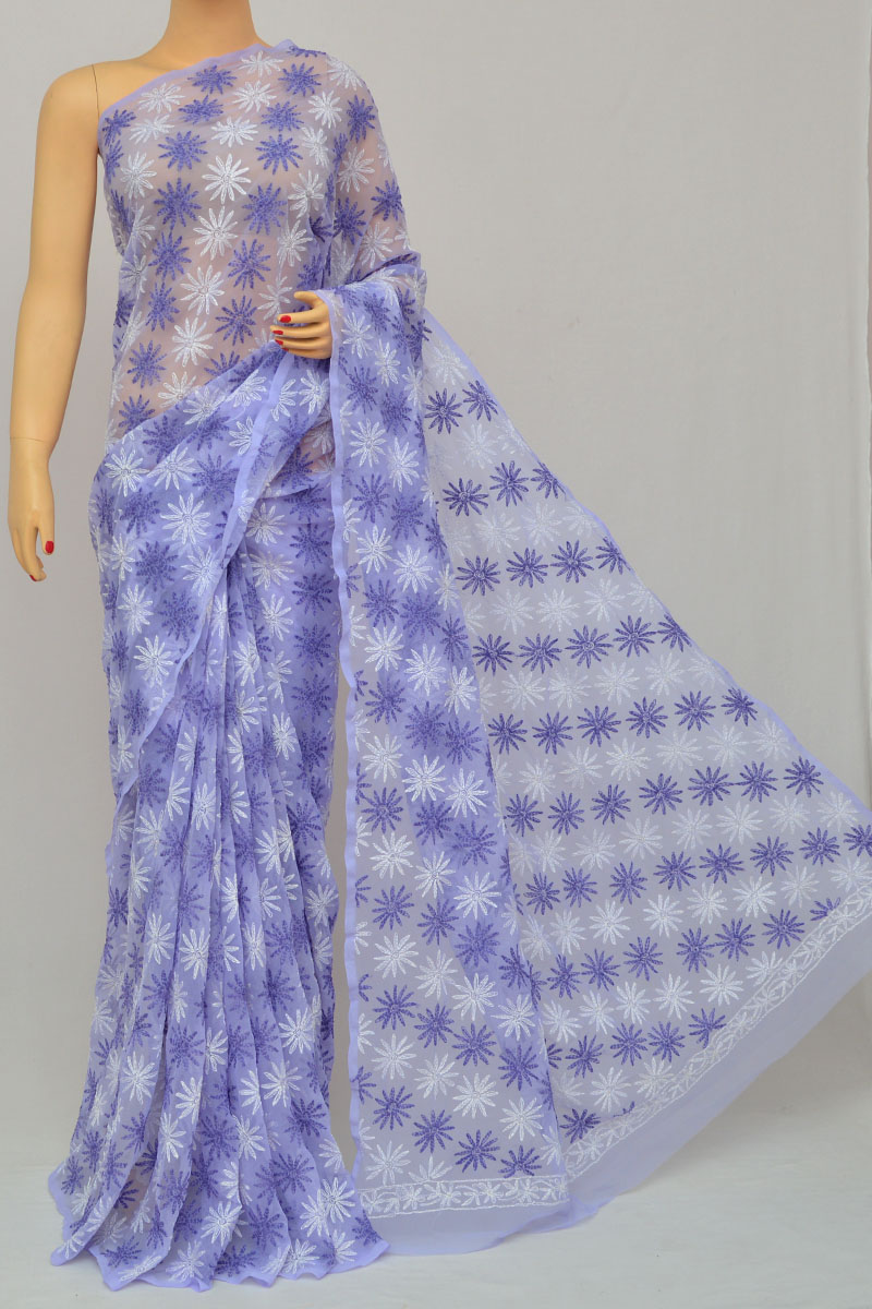 Purple Color Multi Thread Hand Embroidered Lucknowi Chikankari Saree (With Blouse - Georgette) HS250273