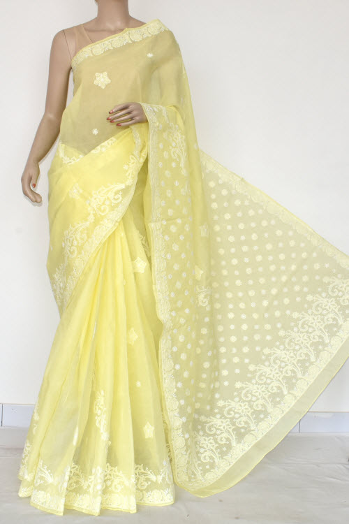 Light Yellow Hand Embroidered Lucknowi Chikankari Saree (Cotton-With Blouse) 14719