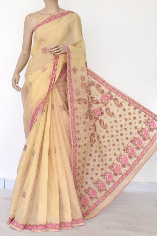 Beige Hand Embroidered Lucknowi Chikankari Saree (Cotton-With Blouse) 14724